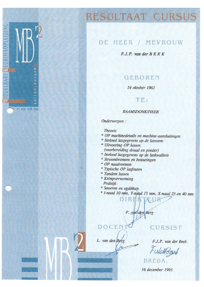 M3 Technical Support welding and other certificates